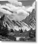 Rocky Mountain Tranquil Escape In Black And White Metal Print