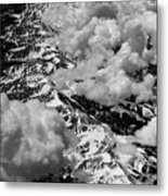 Rocky Mountains In Colorado With Snow Aerial Black And White Metal Print