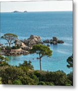 Rocky Outcrop And Coastline Near Palombaggia In Corsica Metal Print