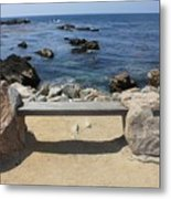 Rocky Seaside Bench Metal Print