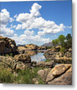 Rocky Shore And Pristine Water Metal Print