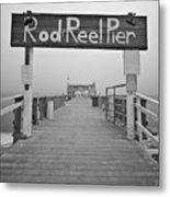 Rod And Reel Pier In Fog In Infrared 53 Metal Print