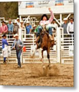 Rodeo Cowboy Riding A Bucking Bronco Metal Print