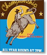 Rodeo Cowboy Riding  A Bull Bucking Metal Print by Aloysius Patrimonio