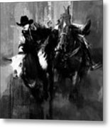 Rodeo In Black Metal Print