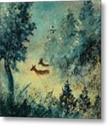 Roe Deers In September Morning Light Metal Print