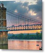 Roebling Suspension Bridge - Cincinnati, Ohio Metal Print