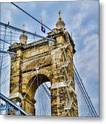 Roebling Suspension Bridge Metal Print