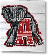 Roll Tide Alabama Crimson Tide Recycled State License Plate Art Metal Print
