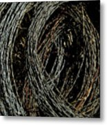 Rolled Barbed Wire-signed-#1936 Metal Print