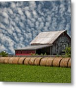 Rolled Up - Hay Rolls And Barn Metal Print