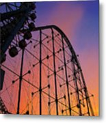 Roller Coaster At Sunset Metal Print