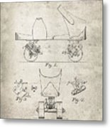 Roller Skate Patent - Patent Drawing For The 1882 F. A. Combes Roller Skate Metal Print