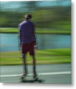 Rollerbladers In Forest Park Metal Print