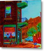 Rollerblading  Past The Cafe Metal Print