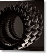 Rollin' Gears Black And White Metal Print
