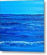 Rolling Blue, Triptych 2 Of 3 Metal Print