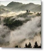 Rolling Fog At Sunrise In The Skofjelosko Hribovje Hills With St Metal Print