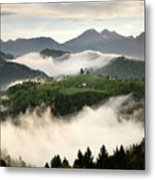 Rolling Fog At Sunrise With Mountains Of Kamnik Savinja Alps At  Metal Print