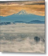 Rolling Low Fog Over City Of Portland Metal Print
