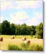 Rolling The Hay Metal Print