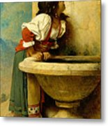 Roman Girl At A Fountain Metal Print