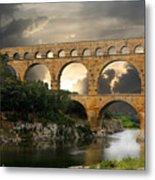 Roman Pont Du Gard Metal Print by Melvin Kearney