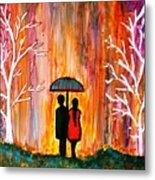 Romance In The Rain Metal Print