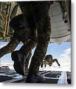 Romanian Paratroopers Perform A Halo Metal Print