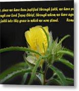 Romans 5 Verses 1 2 Yellow Wildflower Metal Print