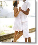 Romantic Couple In White Metal Print by Kicka Witte - Printscapes