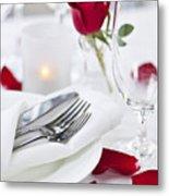 Romantic Dinner Setting With Rose Petals Metal Print