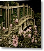 Romantic Garden And Bridge Metal Print