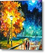 Romantic Night 2 - Palette Knife Oil Painting On Canvas By Leonid Afremov Metal Print