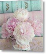 Paris Peonies Floral Books Art - Pink And Aqua Peonies Books Decor - Shabby Chic Peonies  Metal Print