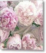 Romantic Shabby Chic Pastel Pink Peonies Bouquet - Romantic Pink Peony Flower Prints Metal Print