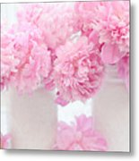 Shabby Chic Pastel Pink Peonies - Pink Peonies In White Mason Jars Metal Print