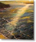Romantic Sunset At Oceanside Metal Print