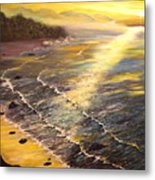 Romantic Sunset Surf Metal Print