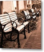 Romantic Surreal Park Bench Pink Sepia Tones Metal Print