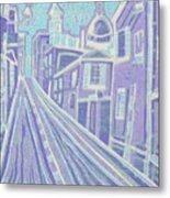 Romantic Town In Blue Metal Print