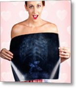 Romantic Woman In Love With Butterflies In Tummy Metal Print by Jorgo Photography - Wall Art Gallery