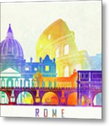 Rome Landmarks Watercolor Poster Metal Print