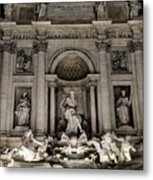 Rome - The Trevi Fountain At Night 3 Metal Print