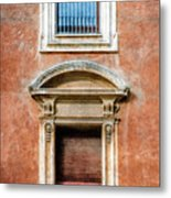 Rome Windows And Balcony Textured Metal Print