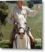Ronald Reagan On Horseback  Metal Print