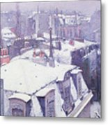 Roofs Under Snow Metal Print by Gustave Caillebotte