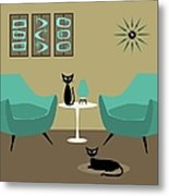 Room With Dark Aqua Chairs Metal Print