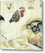 Rooster And Cat Metal Print