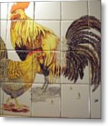 Rooster And Hen Metal Print